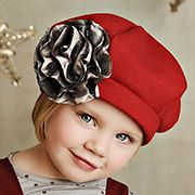 Persnickety Jeweled Forest Baret Hat - Red
