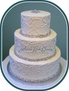 Silver Dragees and Scrolls Wedding Cake