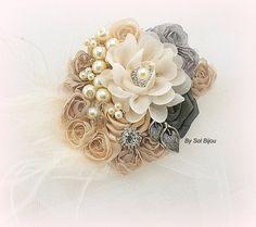 Hair Clip Bridal Wedding Fascinator Blush Pink Ivory by SolBijou