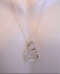 "#SolidSilver #925Silver #925Sterling #925SterlingSilver #Sterling #Silver #SterlingSilver #DoubleLink #DoubleHeart #Heart #Hearts #Necklace, 5.9g, 18"" #Pendant"