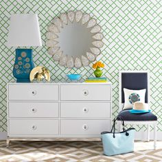 Jonathan Adler Wallpaper Bamboo Green