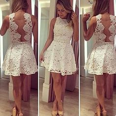 OURS Womens Lace Cocktail Party Backless Sleeveless O neck Dress