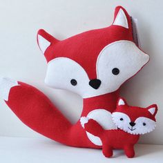Plush Red Foxes Mommy and her Baby by CarrotFever on Etsy