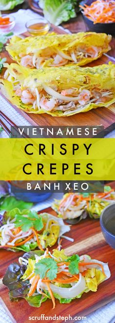 Banh xeo is a popular street food that is sold all over Vietnam. These thin and crispy savoury crepes are served with lettuce, herbs and nuoc mam dipping sauce. A great recipe to wow your friends for lunch or dinner. Banh Xeo, Vietnamese Pancakes, Vietnamese Cuisine, Vietnamese Street Food, Vietnamese Sandwich, Vietnamese Dessert, Asian Noodle Recipes, Asian Recipes, Ethnic Recipes