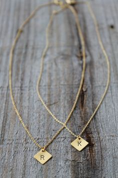 Gold Hand-Stamped Initial Necklace!