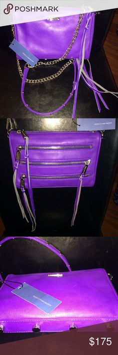 Rebecca Minkoff Leather Mini in Hyper Purple Rebecca Minkoff Mini 5-zip in Hyper Purple! Adjustable chain strap can be singled, doubled, or removed. Out of stock on line!! Make an offer!! (Light scratch shown in last photo) Dust bag included. Rebecca Minkoff Bags