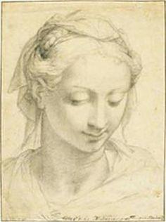 """Woman with the downcast eyes,"" c. (1539-41), Francesco Salviati  or Francesco de'Rossi (1510-1563). Art Gallery of Western Australia."