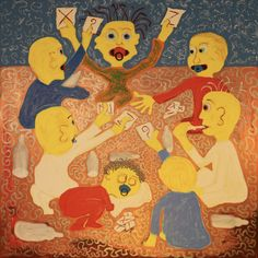 Babys Playing Cards/Maarit Korhonen, acrylic, oilsticks, canvas, 92cm x 92cm Dark Paintings, Original Paintings, Online Painting, Artwork Online, Dancer In The Dark, Autumn Painting, Original Art For Sale, Artists Like, House Painting