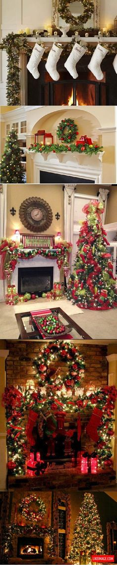 Christmas fireplace decorations - 9 PHOTO!