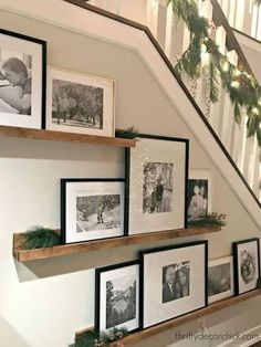 51 Unusual picture frame wall decor ideas on a budget - Nice . - 51 Unusual photo frame wall decorating ideas on a budget – Nice 51 Unusual photo frame wall decor - Picture Shelves, Picture On Wood, Picture Walls, Gallery Wall Shelves, Stairway Gallery Wall, Photo Shelf, Picture Heart Wall, Picture Rail Bedroom, Photo Walls