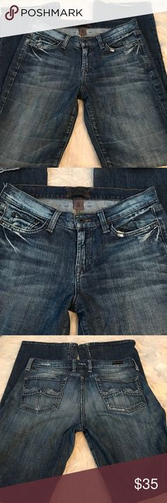 """Lucky  BRAND """"distressed"""" jeans... Gently used. This is the distressed style. Distressing seen on left pocket on the rear and back pockets. Mild turn up on bottom from wear. 30""""Waist...31"""" inseam Lucky Brand Jeans"""