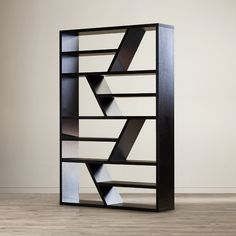 A rich espresso finish pairs with a zig-zag design to round out this eye-catching bookcase. Use it to complement a mod living room ensemble then display leather-bound tomes and framed family photos on its 8 shelves. Boutique Interior, Home Interior, Cube Bookcase, Etagere Bookcase, Bookcases, Cube Shelves, Small Shelves, Wood Shelves, Mod Living Room