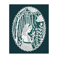 Girl in the Willow Trees - Original Papercut Illustration - Teal 8x10 Print