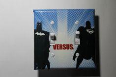 Batman vs Superman Double Light Switch Cover Plate comic book home decor