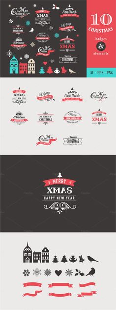 Christmas badges & elements Template #design Download: https://creativemarket.com/Marish/399813-Christmas-badges-elements?u=ksioks
