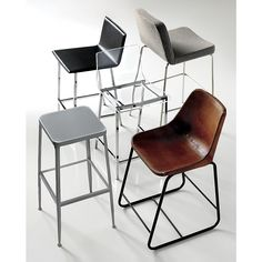 high dining. Pull up a seat and stay awhile. Dapper stool dines comfy at counter height, upholstered in tweedy salt-and-pepper poly weave. Tailored trim with welt detail that traces rounded corners from curved shoulders to edge of seat. Tubular metal legs stand spare and sleek in polished nickel finish.