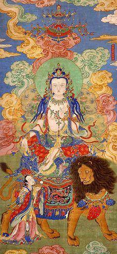 清  佚名  文殊騎獅圖  軸<br/>Mahasthamaprapta Bodhisattva