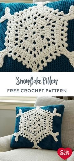 Crochet Pillow Pattern, Easy Crochet Patterns, Free Crochet, Snowflake Pillow, Crochet Snowflakes, Soft Blankets, Free Pattern, Crochet Christmas, Christmas Time