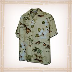 "FREE SHIPPING – EVERY ORDER, EVERY DAY! Hawaiian Shirt ""Island Chain"" By Pacific Legend – Khaki  Coconut shell buttons and matching print engineered chest pocket. This Pacific Legend Hawaiian Shirt Garment is 100% Cotton and MADE IN HAWAII. http://hawaiianshirtdude.com/product/hawaiian-shirt-island-chain-pacific-legend-khaki/"