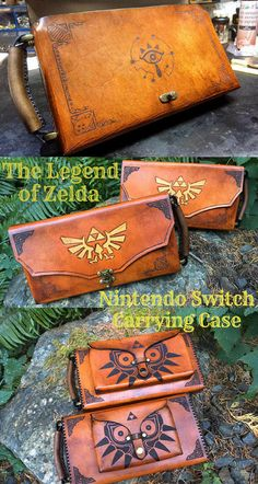 Nintendo Switch Case - Leather Zelda themed Nintendo Switch carrying case. Large enough to have your JoyCons attached to the screen. A pouch on the back of the case is large enough to house the charger and a couple games - #ad