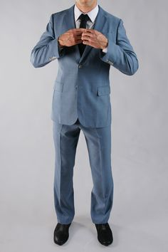 The One Suit in Vintage Blue The One, What To Wear, Raincoat, Normcore, Mens Fashion, Suits, Jackets, Blue, Vintage