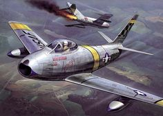 1951 North American Sabre Fights Against Soviet Ww2 Aircraft, Fighter Aircraft, Fighter Jets, Military Jets, Military Aircraft, Sabre Jet, Reactor, Airplane Art, Korean War