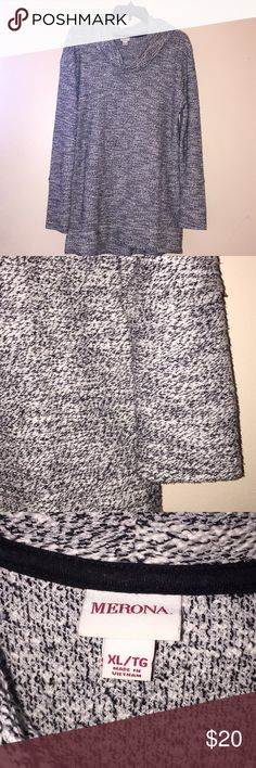 Cowl Neck Grey Sweater Worn once, great condition  Smoke-free, pet-free home I'm usually a s/m but this fit me alright sleeves a little long but looks like a Sweater dress with leggings and some boots Grey color with some white Merona Sweaters Cowl & Turtlenecks
