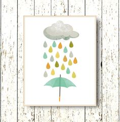 0140    Cloud rain umbrella nursery Art for children - Kids wall art - Playroom art - Family Room - baby nursery wall art.    Hello Sunshine. A print