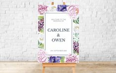 PRINTED Welcome Wedding Sign | Josephine Collection | Blush Lilac Floral Signage | Foamex Sign. A0, A1, A2, A3 Wedding Signs, Wedding Table, Welcome To Our Wedding, Signage Design, Seating Charts, Table Plans, A3, Floral Wedding, Pink Flowers