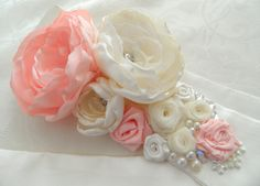 Wedding Sash in Blush Pink and Ivory Bridal Sash-satin and organza with,wedding sash, bridal sash,. $85.00, via Etsy.