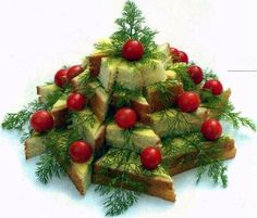 Christmas tree made from sandwiches!