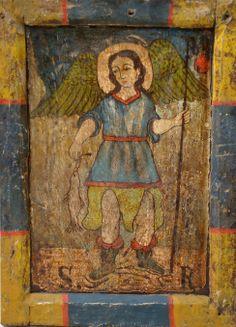 "Retablo ""Arcángel San Rafael""  Colonial venezolano. Edo. Lara. Siglo XVIII. Óleo/tabla. Medidas: 23 x 15 cms."