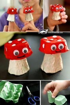 hueveras divertidas con forma de seta reciclando cartón
