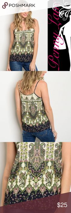 """🦋Coming soon! Gorgeous boho paisley tank Super pretty colors make this tank top a must have! Olives, greens, pinks, and creams combine into a beautiful paisley bohemian print. 100% Polyester. Description: L: 25"""" B: 34"""" W: 38 Tops Tank Tops"""