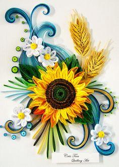 sun flower, quilling