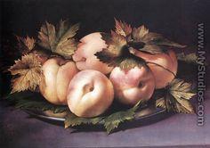 Still-life with Peaches and Fig-leaves 1590s - Giovanni Ambrogio Figino