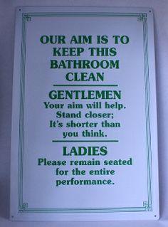 "Bathroom Sign, ""Our Aim"". Metal Sign. - Junk Drunk Jones"