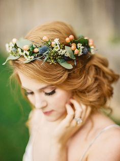 Enchanted Forest Blush Bridal Shoot - - Creative Wedding Ideas and Event Design. Floral Crown Wedding, Wedding Hair Flowers, Wedding Hair And Makeup, Bridal Flowers, Flowers In Hair, Flower Crown Bride, Hair Wedding, Bridal Flower Crowns, Wedding Hair Jewelry