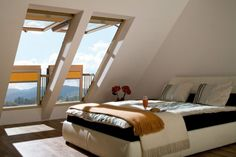 The innovative, FAKRO Balcony window is a large roof window in which the open sashes create a functional balcony in the loft. Skylight Window, Balcony Window, Roof Window, Skylight Bedroom, Attic Window, Window View, Attic Bedroom Designs, Attic Bedrooms, Attic Design