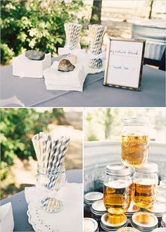 During the cocktail hour the guests enjoyed a signature drink of sweet tea, served in the mason jars with paper straws available to sip 'em down. All while playing lawn games like bocci ball and bean bag toss.