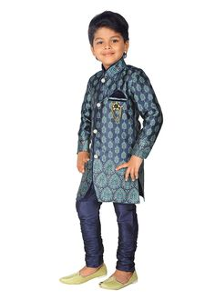 88a08cacdd ahhaaaa Boys  Cotton Silk Sherwani   Pyjama  Amazon.in  Clothing    Accessories