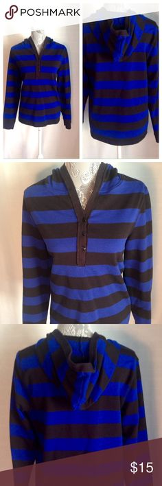 Striped Athletic Sweatshirt Black and blue striped hooded sweatshirt. Buttons down the front extremely comfortable. Tops Sweatshirts & Hoodies