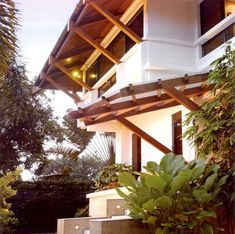 By renowned Filipino architect Bobby Mañosa Filipino Architecture, Philippine Architecture, Bamboo Architecture, Tropical Architecture, Modern Tropical House, Tropical Houses, Gate House, Facade House, Modern Filipino House