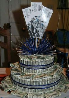 Money cake out of dollar bills for daughters 18th birthday house