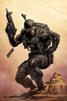 Commando Snake Eyes - line art: Robert Atkins, color: on… Armadura Ninja, Caricatures, Comic Books Art, Comic Art, Cyberpunk, Snake Eyes Gi Joe, Apocalypse, Character Art, Character Design
