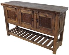 """Old wood buffet with slat bottom and iron accents. Add some extra storage to your dining room or kitchen with this rustic wood buffet. Features three tin panelled doors, iron band with rustic nailheads and lower slat shelf. 59"""" W x 18.25"""" D x 36"""" H"""