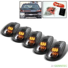 Smoked 5Pcs Rooftop Signal Running Amber Led Lights+Switch For Pickup Trailer A