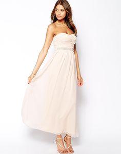 Image 1 ofElise Ryan Bandeau Maxi Dress with Embellished Waistband