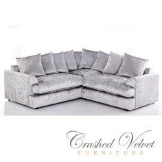 The Jasper Large Crushed Velvet Corner Sofa Silver fabric design is a great centre piece for any home. This sofa comes with scatter back cushions