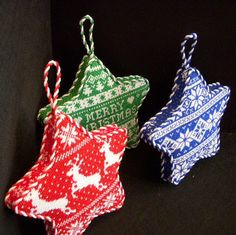 Gusseted Star Ornaments ~ canvases by Kirk & Bradley